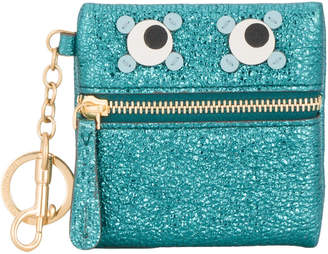 Anya Hindmarch Metallic green leather circulus eyes coin purse