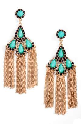 Adia Kibur Chain Fringe Drop Earrings