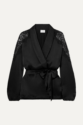 CAMI NYC The Kimberly Lace-trimmed Silk-charmeuse Jacket - Black
