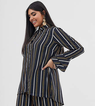 Verona Curve long sleeve shirt two-piece in multi stripe
