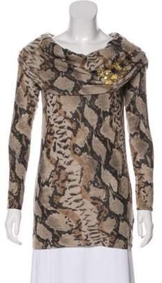 Blumarine Cowl Neck Lightweight Sweater Brown Cowl Neck Lightweight Sweater