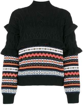 Philosophy di Lorenzo Serafini ruffle-trim jacquard-knit jumper