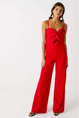 Missguided Womens Bow Detail Jumpsuit - Red