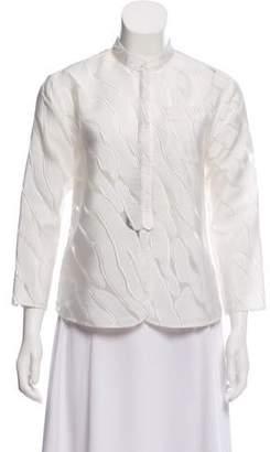 Giorgio Armani Embroidered Silk-Blend Blouse