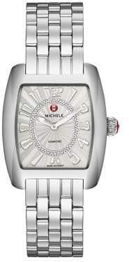 Michele Urban Diamond& Stainless Steel Bracelet Watch