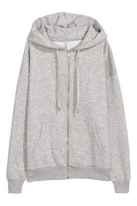 H&M Oversized Hooded Jacket - Gray melange - Women