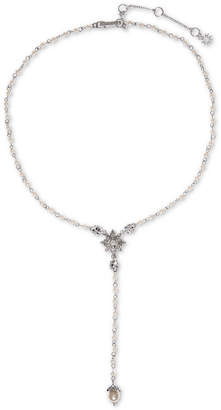 "Marchesa Silver-Tone Crystal & Imitation Pearl Y-Necklace, 18"" + 2"" extender"