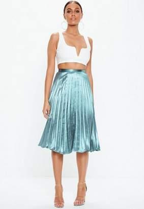 Missguided Blue Pleated Full Midi Skirt