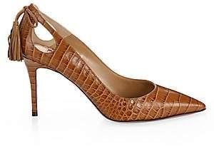 Aquazzura Women's Forever Marilyn Cutout Croc-Embossed Leather Pumps