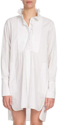 Etoile Isabel Marant Milena Ruffle High-Neck Cotton Shirt Dress