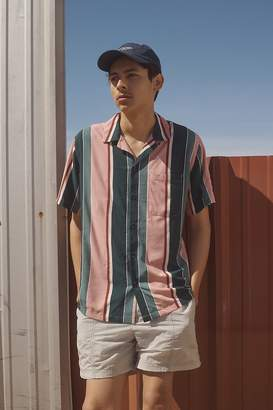 Urban Outfitters Multicolor-Stripe Rayon Short Sleeve Button-Down Shirt