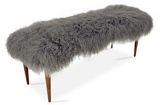 Le-Coterie Curly Adolfo Bench - Gray