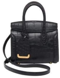 Alexander McQueen Heroine Mini Croc-Embossed Leather Shopper 21