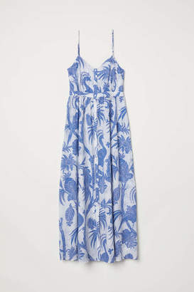 H&M Cotton Maxi Dress - White/blue patterned - Women