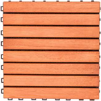 Vifah Malibu 10-Piece 8-Slat Outdoor Patio Interlocking Deck Tile Set