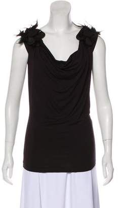 Alberta Ferretti Feather-Trimmed Sleeveless Top