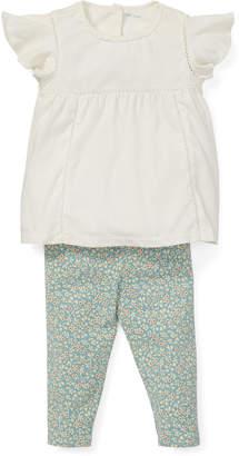 Ralph Lauren Childrenswear Lace Top w/ Floral Leggings, Size 6-24 Months
