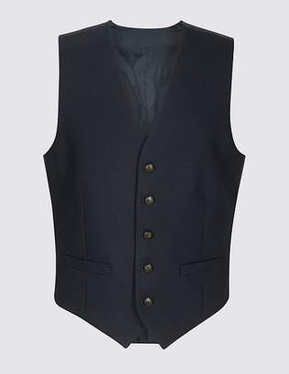 Marks and Spencer Navy Textured Regular Fit Waistcoat
