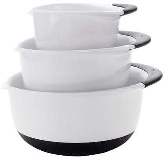OXO Good Grips 3 Piece Plastic Mixing Bowl Set Handle