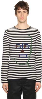Comme des Garcons Embroidered Striped Wool Knit Sweater