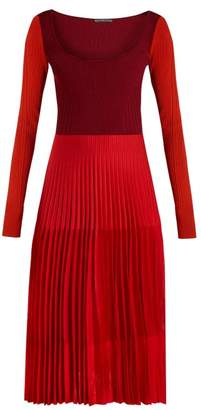 Alexander McQueen Stretch Knit Pleated Midi Dress - Womens - Orange Multi