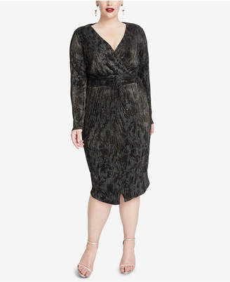 Rachel Roy Plus Size Crinkle-Pleated Wrap Dress