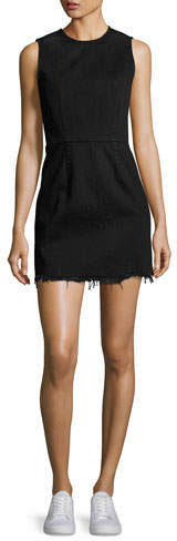 Alexander Wang T by Alexander Wang Faded Denim Zip-Back Mini Dress, Black