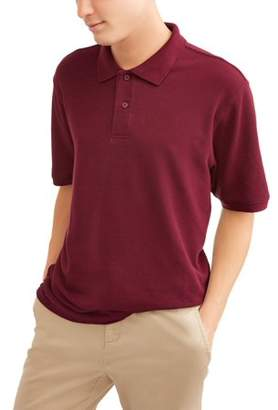 Wonder Nation Young Men's Short Sleeve Double Pique Polo, up to size 3XL