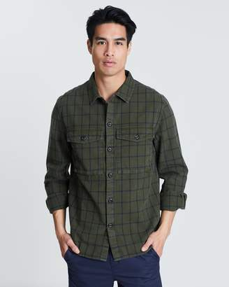 French Connection Yarn-Dyed Twill Overcheck Shirt