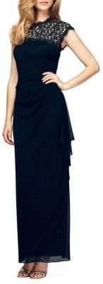 Alex Evenings Cut-Out Lace Long Cap-Sleeve Dress