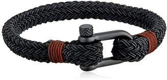Crucible Jewelry Unisex Adult Plated Stainless Steel Matte Screw Clasp Braided Rope Bracelet (8.4mm Wide)