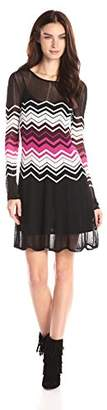 Trina Trina Turk Women's Abielle Zig Zag Long Sleeve Sweater Dress $122.01 thestylecure.com