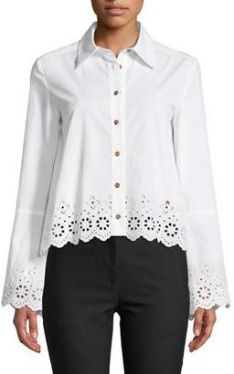 Derek Lam 10 Crosby Long-Sleeve Button-Down Shirt with Eyelet Embroidery