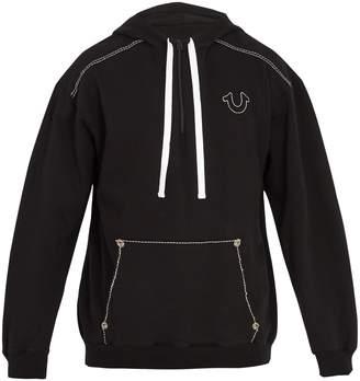 True Religion Contrast-stitch hooded cotton sweatshirt