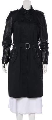 Burberry Leather-Paneled Trench Coat