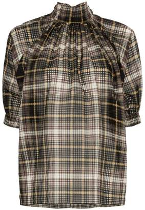 Blend of America Beaufille high neck check print cotton silk blouse