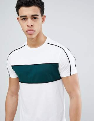 Asos DESIGN t-shirt with color blocking and piping
