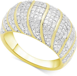 Townsend Victoria Diamond Dome Statement Ring (1/4 ct. t.w.) in 18k Gold-Plated Sterling Silver