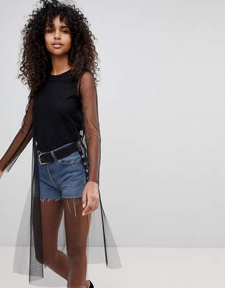 Monki Sheer Longline Top With Solid Layer