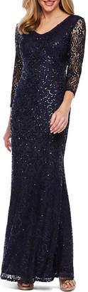 BLU SAGE Blu Sage 3/4 Sleeve Sequin Lace Evening Gown