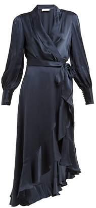 Zimmermann Asymmetric Hem Silk Satin Wrap Dress - Womens - Navy