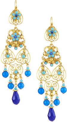 Jose & Maria Barrera Long Filigree Earrings, Blue