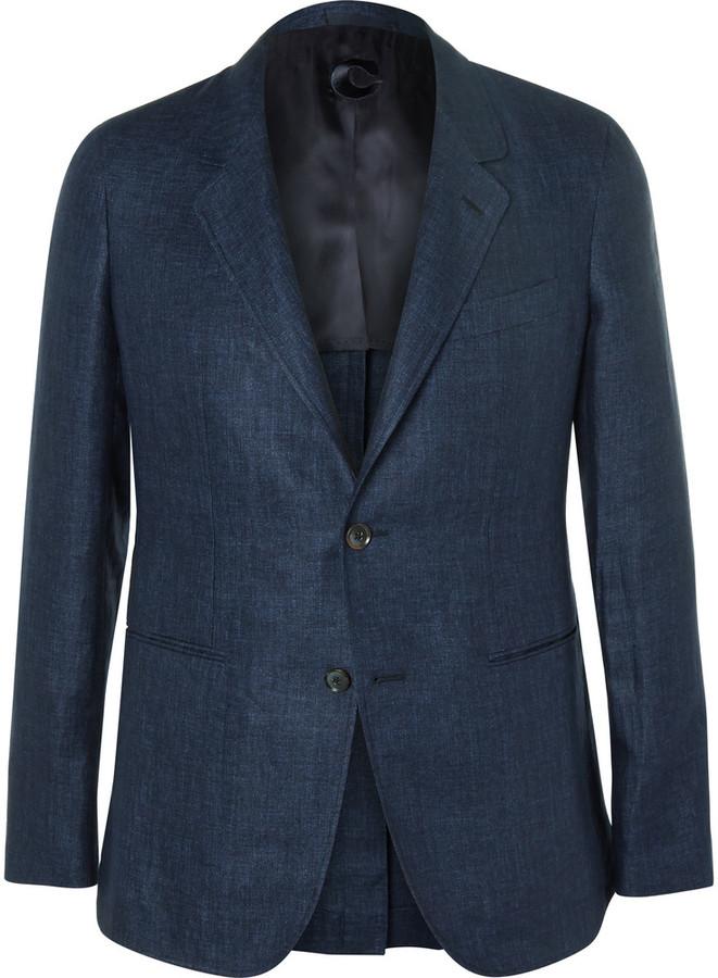 CarusoCaruso Navy Slim-Fit Herringbone Linen Blazer