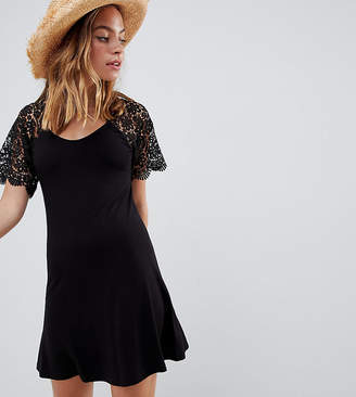 Asos DESIGN Petite corded lace fit and flare mini dress