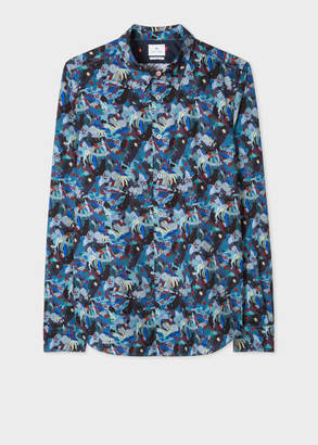 Paul Smith Men's Tailored-Fit Multi-Coloured 'Urban Fox Collage' Print Cotton Shirt