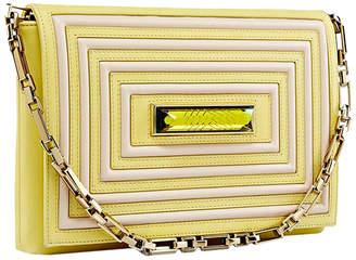 Kristina George Crystal Leather & Satin Clutch