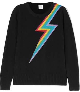 Madeleine Thompson Chianti Metallic Intarsia Cashmere Sweater - Black