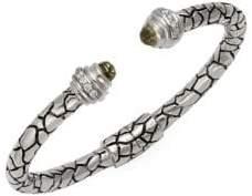 Python Sterling Silver, 14K White Gold, Green Amethyst & Diamond Cuff Bracelet