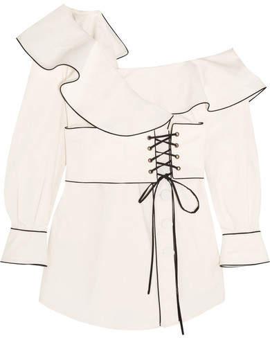 Self-Portrait - Off-the-shoulder Cotton-canvas Mini Dress - White