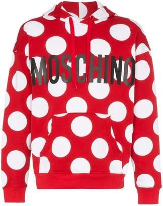 Moschino polka dot print cotton hooded jumper